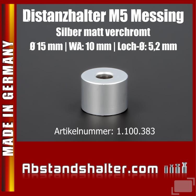 Distanzhalter M5 Edelstahl matt verchromt Ø15x10 mm L-Ø:5 mm | Silber