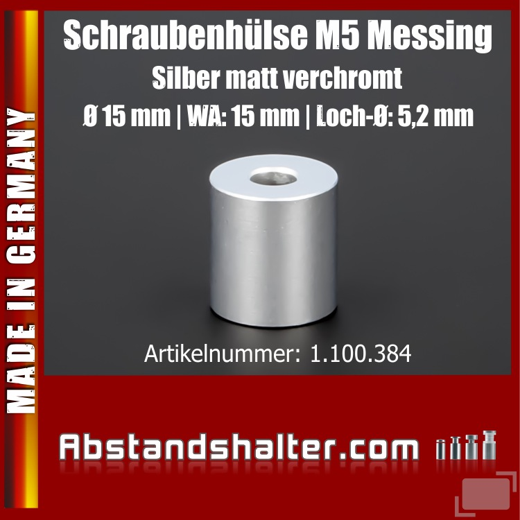 Schraubenhülse M5 Edelstahl matt verchromt Ø15x15 mm L-Ø:5 mm | Silber