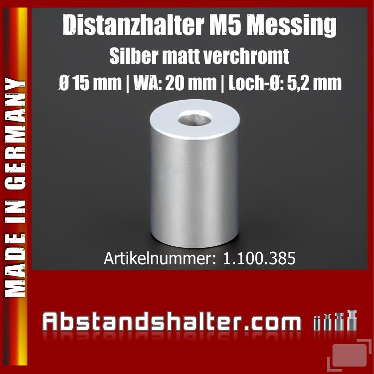 Distanz-Halter M5 Edelstahl matt verchromt Ø15x20mm L-Ø:5,2mm | Silber