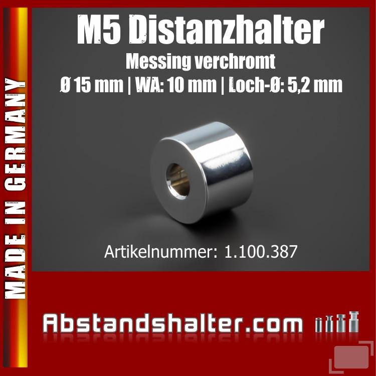 Distanzhalter M5 Edelstahl verchromt glänzend Ø15x10mm L-Ø:5,2mm Chrom