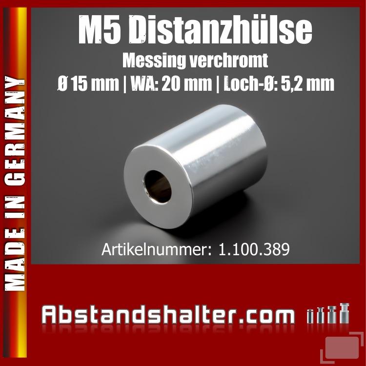 Distanzhalter M5 Edelstahl verchromt glänzend Ø15x20mm L-Ø:5,2mm Chrom