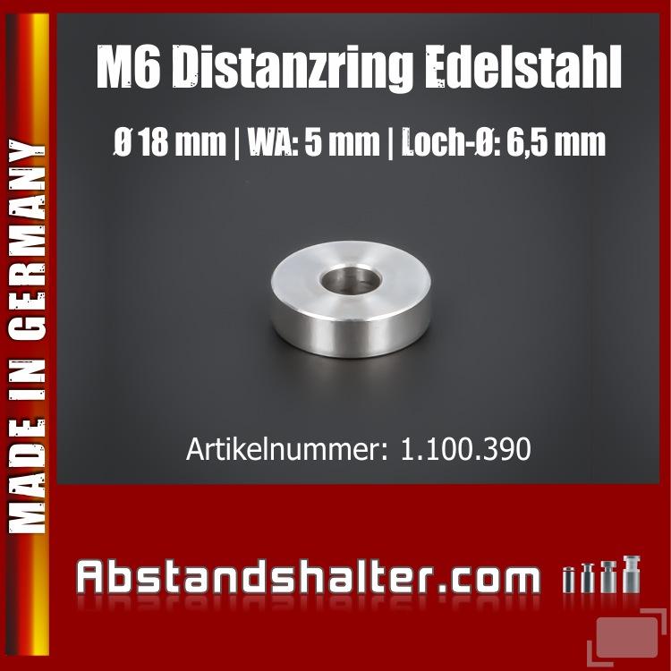 Distanzring M6 Abstandsrohr Edelstahl Ø18x5mm L-Ø: 6,5mm | Hülse | V2A