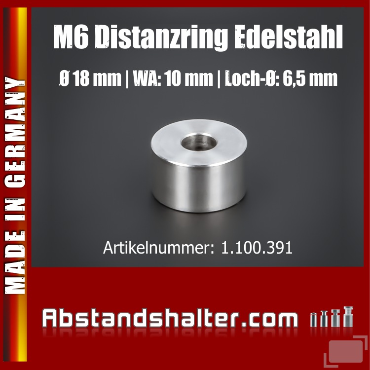 Abstandsring M6 | Distanzring Edelstahl Ø 18x10 mm L-Ø: 6,5 mm | V2A