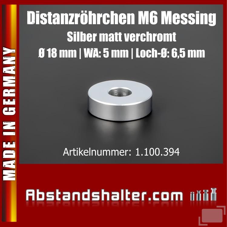 Distanzröhrchen M6 Edelstahl matt Ø18mm WA: 5mm L-Ø: 6,5mm | Silber
