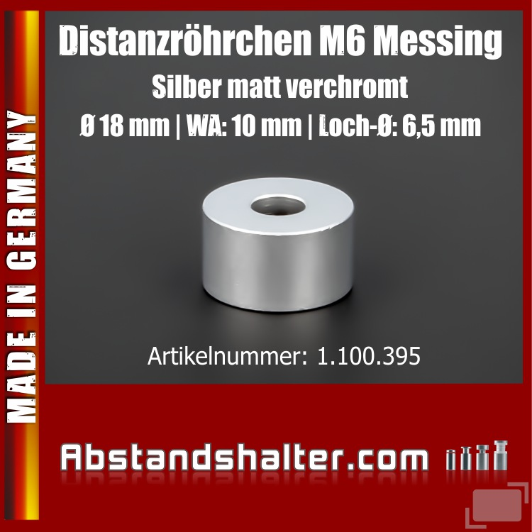 Distanzröhrchen M6 Edelstahl matt Ø 18mm WA: 10mm L-Ø: 6,5mm | Silber