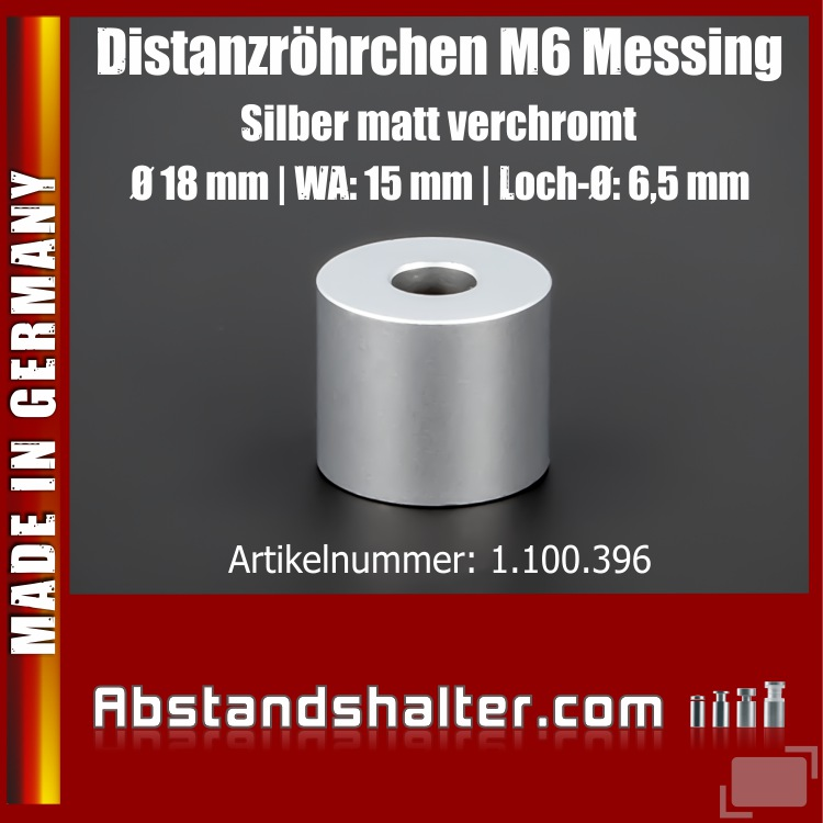 Distanzstück M6 Edelstahl matt Ø 18 mm WA: 15 mm L-Ø: 6,5 mm | Silber