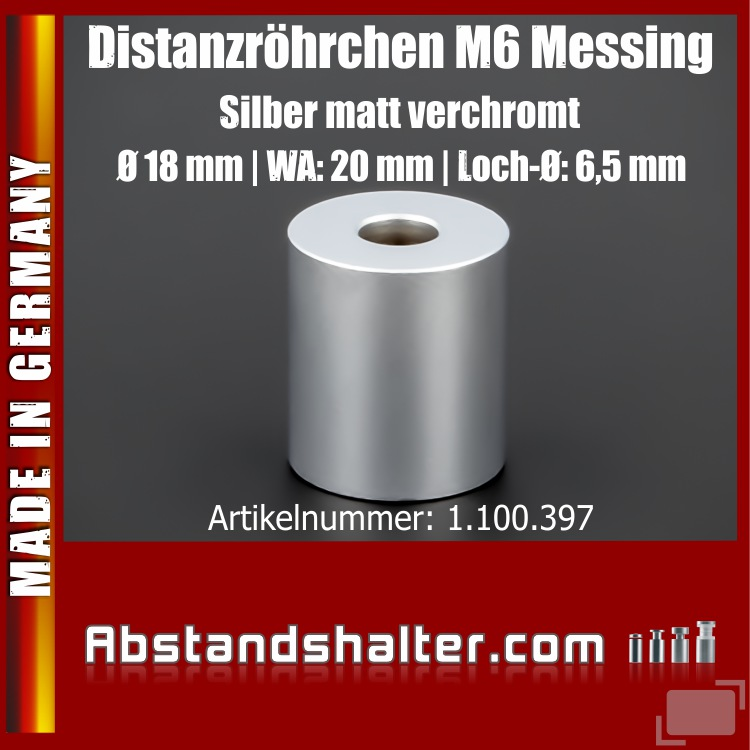 Distanzrohr M6 Messing matt Ø 18 mm WA: 20 mm L-Ø: 6,5 mm | Silber