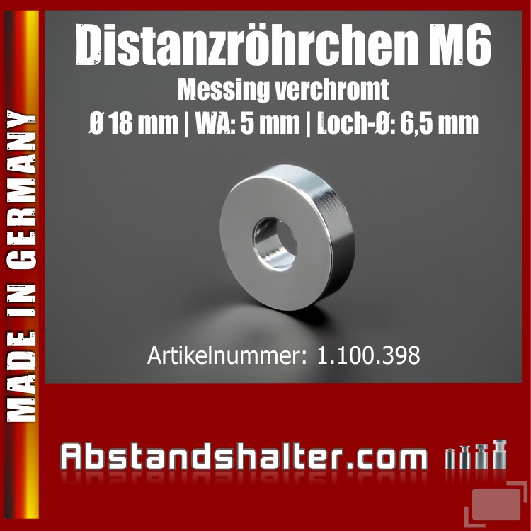 Distanzröhrchen M6 Messing verchromt Ø18mm WA:5mm L-Ø:6,5mm | Chrom