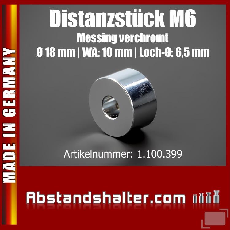Distanzstück M6 Edelstahl verchromt glänzend Ø 18 mm WA: 10 mm | Chrom