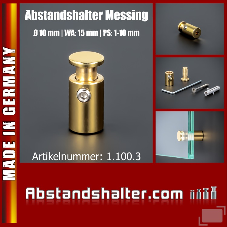 Abstandshalter Messing Lack klar Ø10 mm WA:15 mm PS: 2-10 mm | Gold