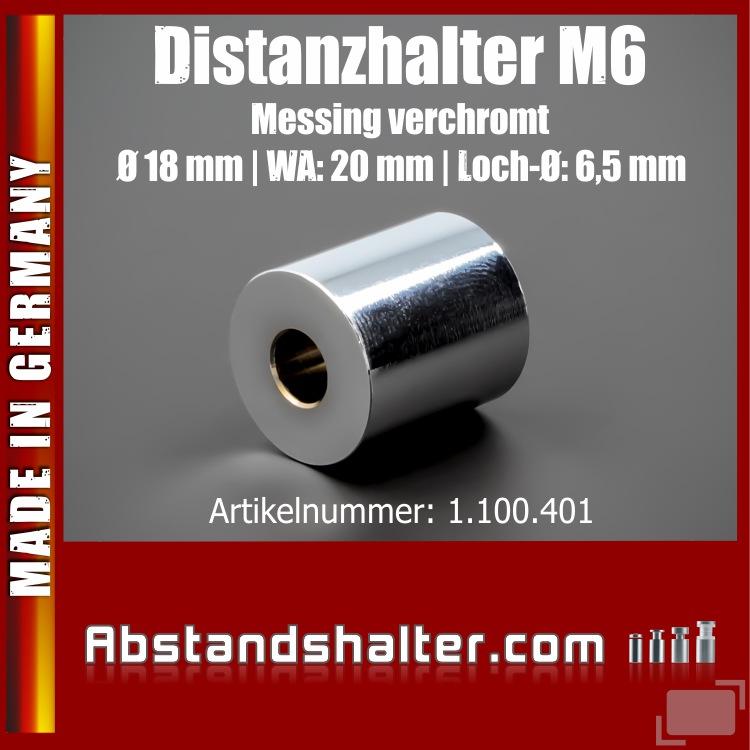 Distanzhalter M6 Edelstahl verchromt glänzend Ø 18mm WA: 20mm | Chrom