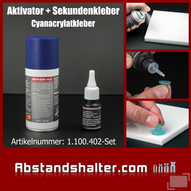 Set Aktivator 150 ml + Sekundenkleber transparent 20ml | Cyanacrylat