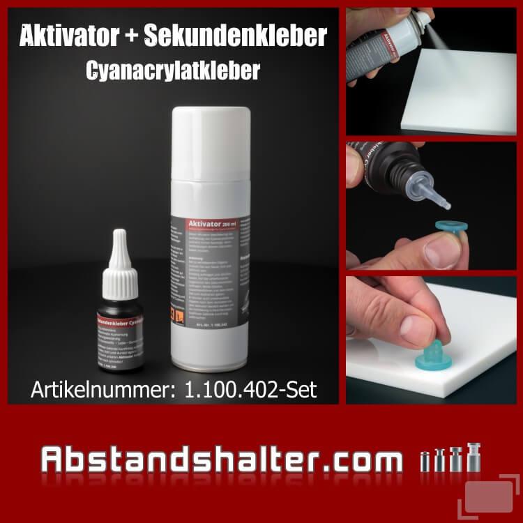 Set Aktivator 200 ml + Sekundenkleber transparent 20ml | Cyanacrylat