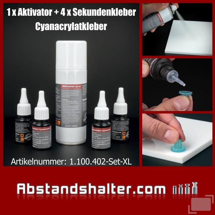 1x Aktivator 4 x Sekundenkleber Cyanacrylat mittelviskos Gummi Kunststoff EPDM Metall