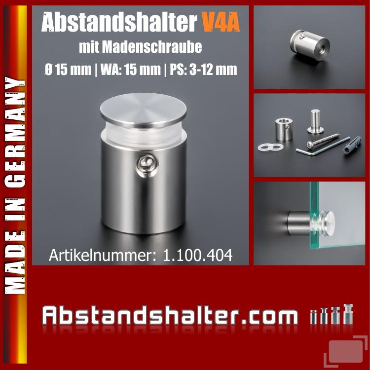 Edelstahl Abstandshalter V4A Schildhalter Ø 15mm WA: 15mm PS: 3-12mm