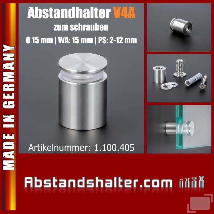 Abstandhalter schraubbar Edelstahl V4A Ø 15 mm WA: 15 mm PS: 2-12 mm