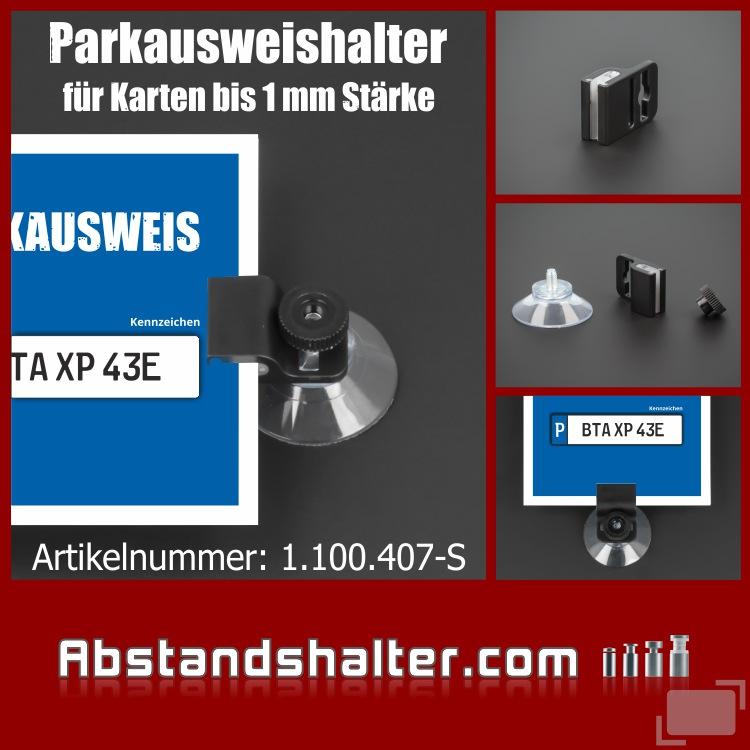 Parkausweishalter - Kartenhalter - Ausweishalter - Autoscheibe - Kunststoff - Plastik - Saugnapf - Parkkartenhalter