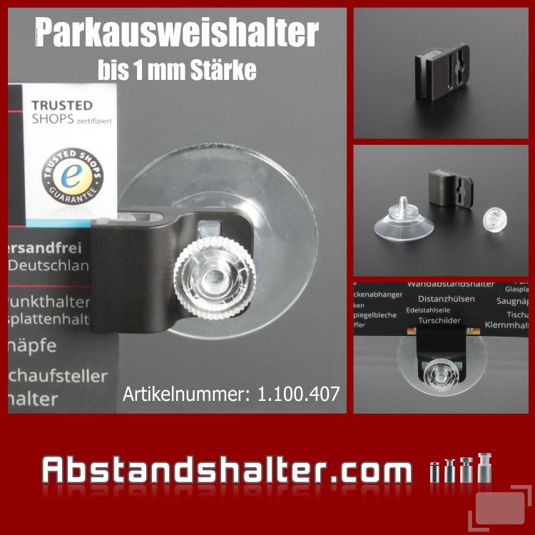 Parkausweishalter - Kartenhalter - Ausweishalter - Autoscheibe - Kunststoff - Plastik - Saugnapf