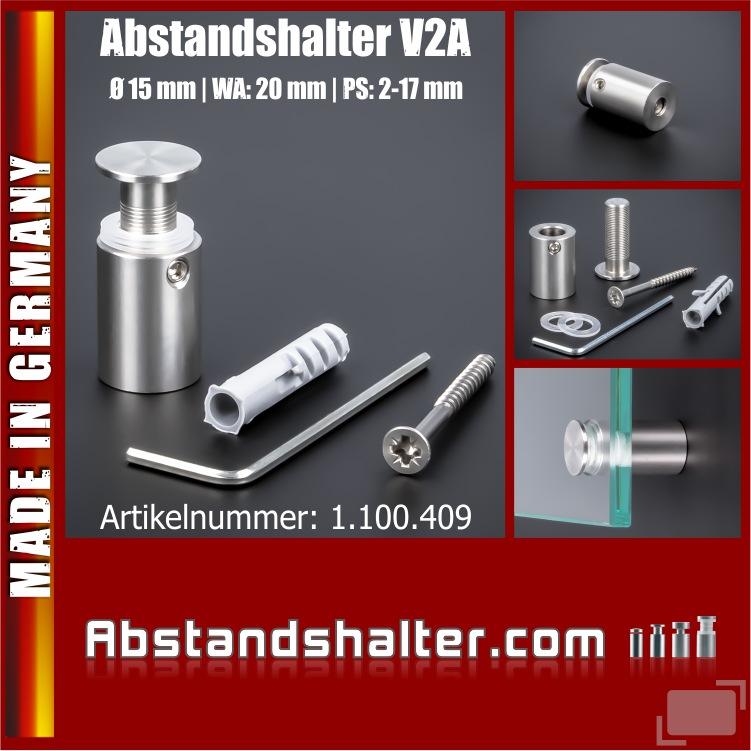 Abstandshalter rund Edelstahl V2A Ø 15 mm WA: 20 mm PS: 3-17 mm