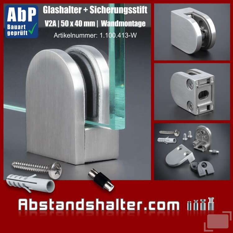 Glashalter + Sicherung V2A 50x40 mm PS: 6-10,76 mm rund | Wandmontage