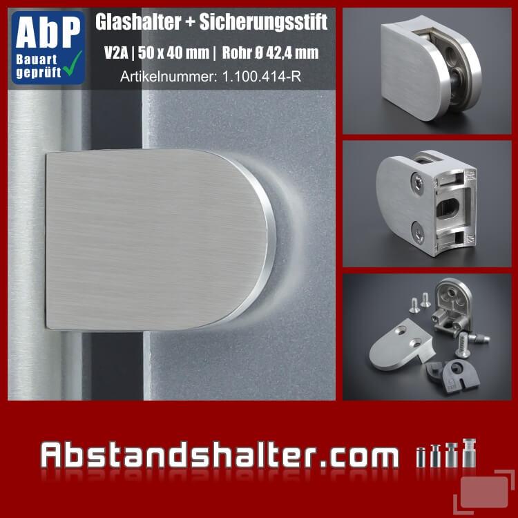 Glasklemme Edelstahl Rohr Ø 42,4 mm für Glasplatten | Metall | Dibond | Kunststoff | Holz