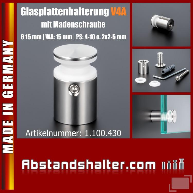 Glasplattenhalterung V4A Ø:15 mm WA:15 mm PS: 4-6 mm o. 2 x 2-3 mm