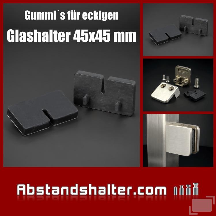 2 x Gummi 8,76 mm eckig für Glashalter 45x45 mm