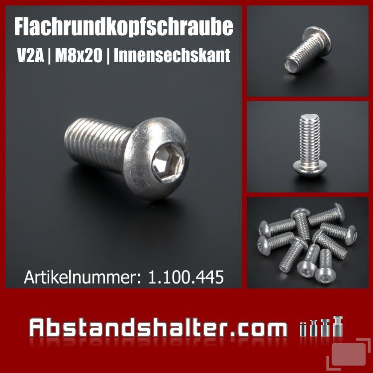 Halbrundschraube Edelstahl A2 M8 x 20 Vollgewinde | Flachrundkopf | Linsenkopfschraube