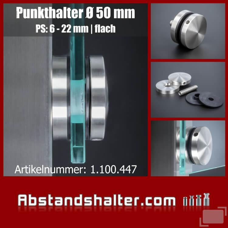 Punkthalter Edelstahl V2A Ø 50 mm WA 10 mm PS:6-22 mm | Pfostenmontage