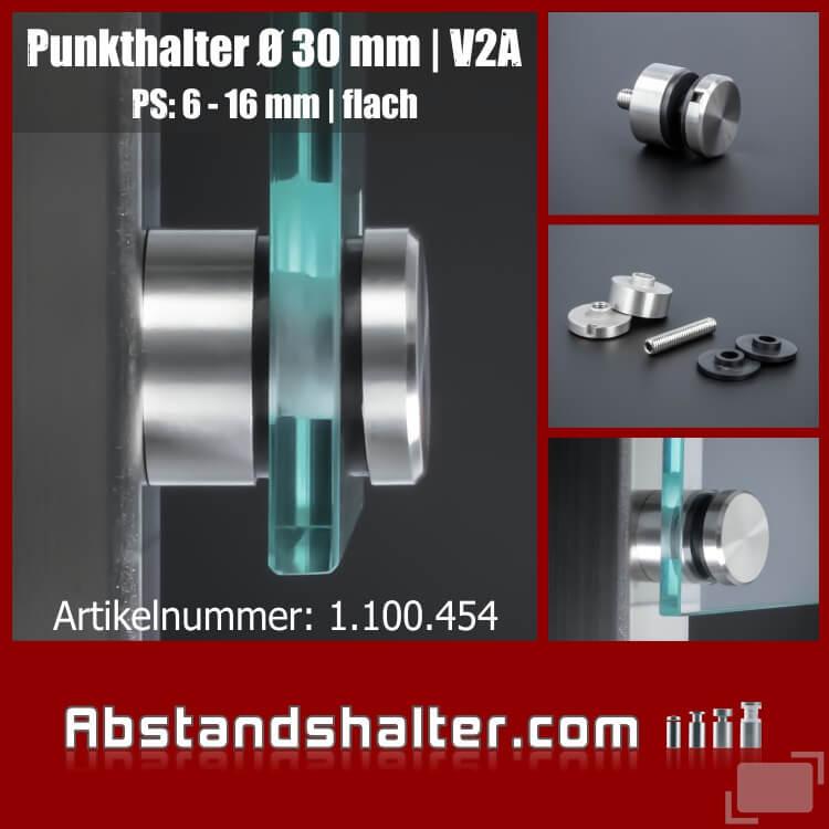 Punkthalter Glaskonstruktionen Edelstahl V2A Ø30 mm WA15 mm PS:6-16 mm | Pfosten