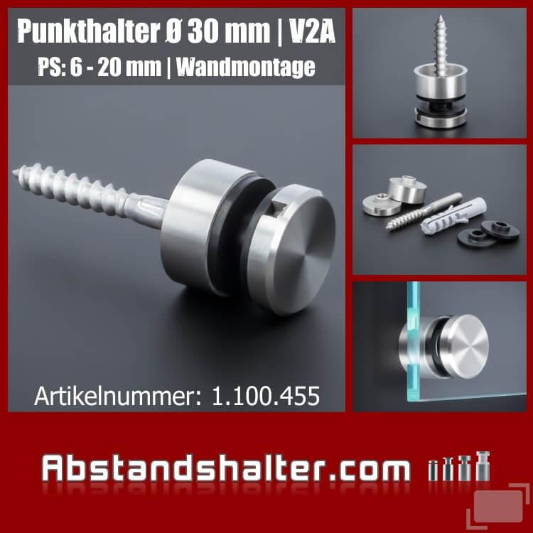 Glas-Punkthalter für Platten 6-20 mm Edelstahl Ø30 mm WA 15 mm | Wandmontage