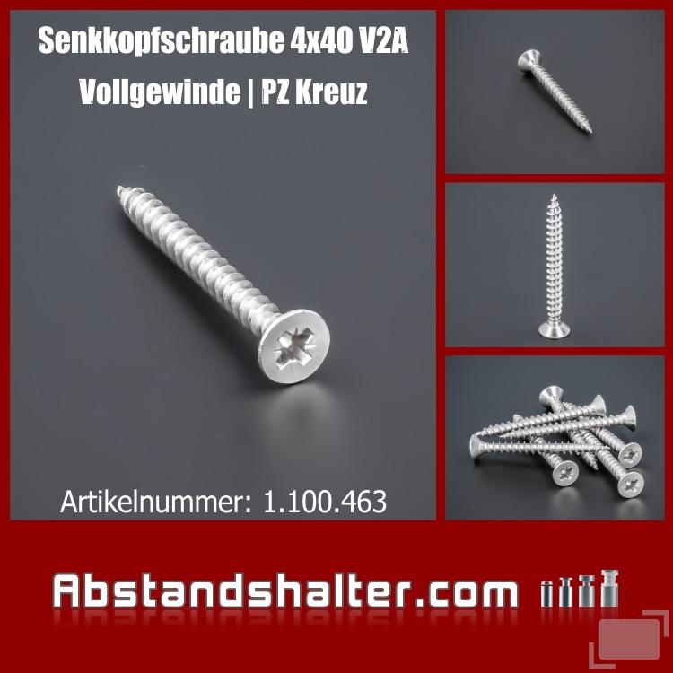 Senkkopfschraube Vollgewinde 4x40mm Edelstahl V2A - A2 | Kreuz