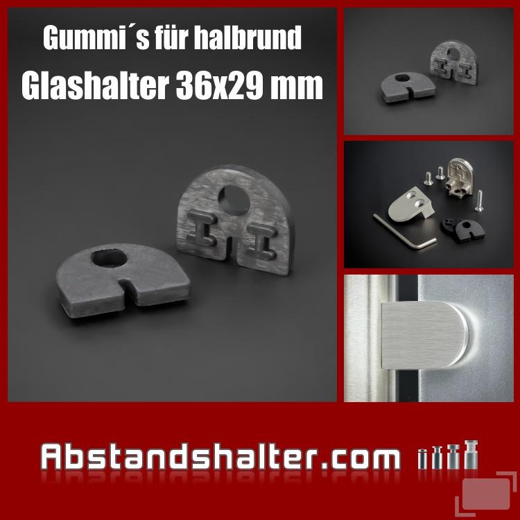 Gummi Plattenstärke: 4 mm | für Glashalter 36 x 29 mm halbrund