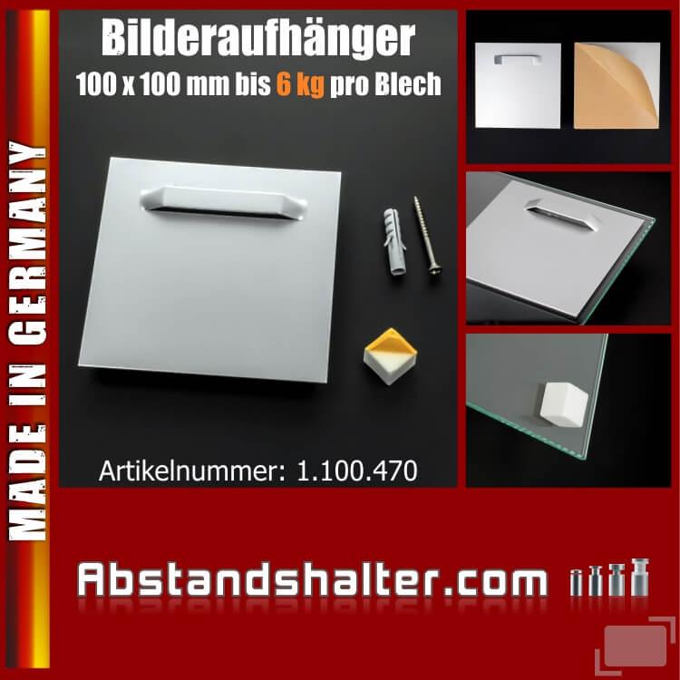 Bilderaufhänger bis 6 kg selbstklebend 100x100mm Wandpuffer weiß Spiegel Bilder Schilder Fotos