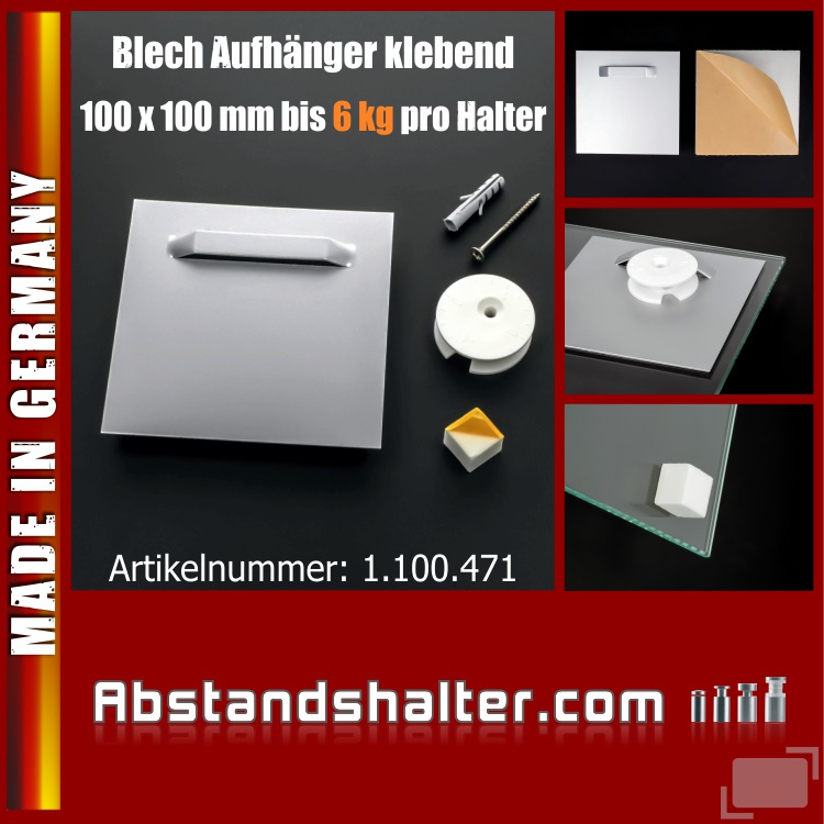 Spiegel-Blech Aufhänger selbstklebend Wandpuffer Exzenterscheibe 6kg 100x100mm