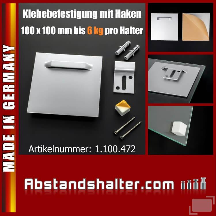 Klebebefestigung mit Haken Wandpuffer bis 6 kg pro Blech | 100x100 mm