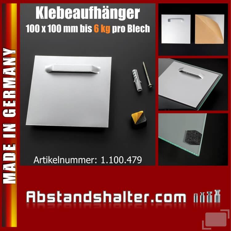 Klebeaufhänger für Spiegel | Bilder | Fotos | Schilder + Puffer bis 6 kg | 100x100 mm