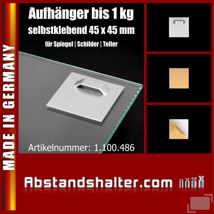 Aufhänger 45x45mm selbstklebend für Spiegel Schilder Teller bis 1 kg