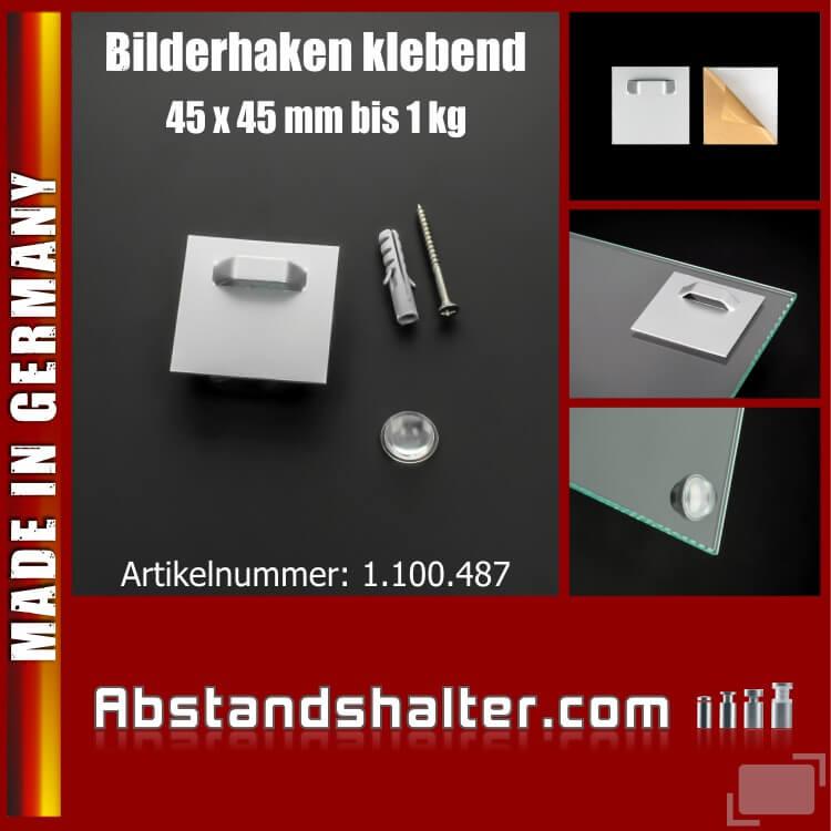 Lieferumfang: Bilderhaken 45x45mm klebend Spiegel Schilder+Puffer transparent 1 kg