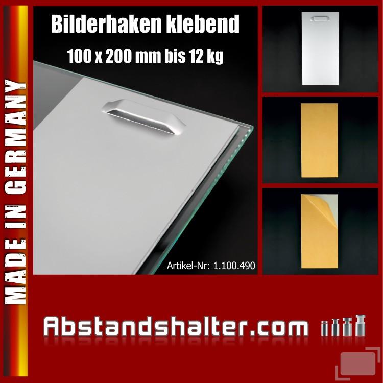 Bildaufhänger selbstklebend bis 12 kg Spiegel Bilder-Haken 100x200 mm