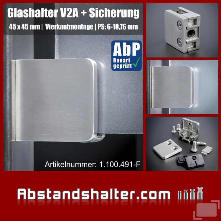 Glashalter mit Sicherung Edelstahl eckig 45x45 mm | flach für Glasplatten | Metall | Blech | Kunststoff | Holz