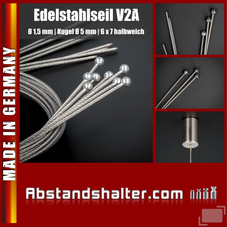 Seil Edelstahl mit Kugelkopf Länge: 2000 mm Kugel-Ø: 5 mm | Abhängung