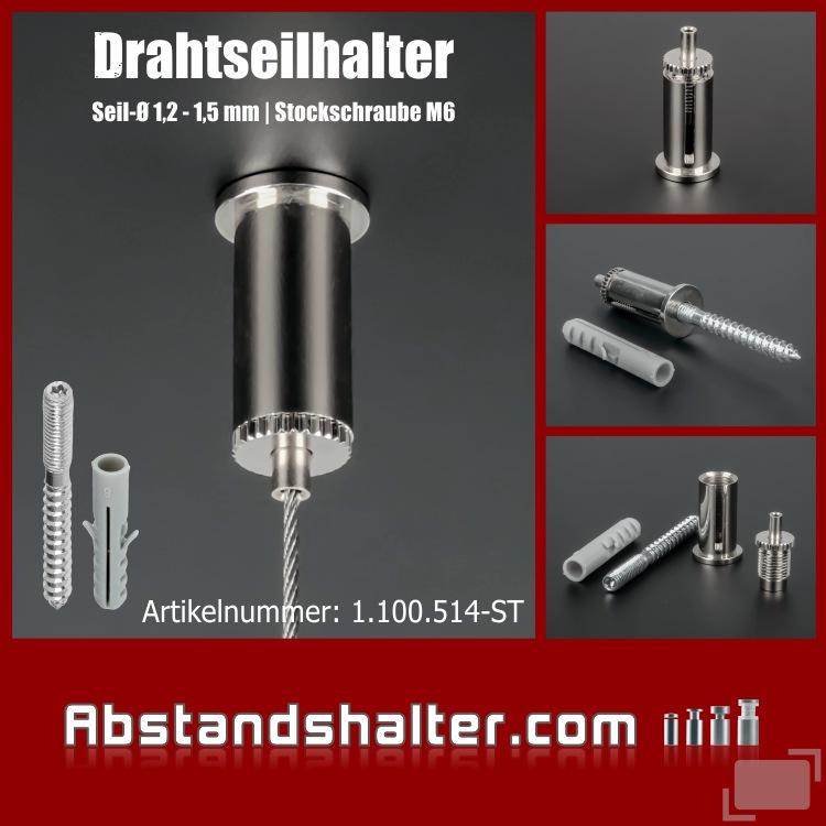 Drahtseilhalter Messing vern. Ø 16mm L: 35mm Schlitz | Stockschraube