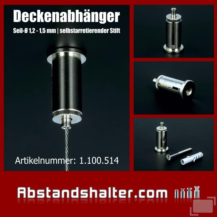 Cable Blocker Deckenabhänger Messing vernickelt Ø 16 mm Länge: 35 mm
