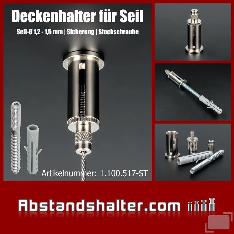 Deckenhalter Messing ver. Ø16 x 35mm Schlitz Sicherung | Stockschraube