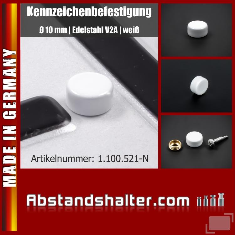 Lieferumfang: Kennzeichen-Befestigung Ø10 mm Edelstahl Schraubenkappe | Weiß