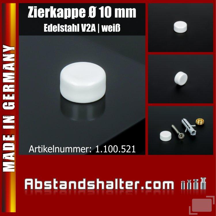 Zierkappe für Schrauben Edelstahl inkl. Gewindehülse flach Ø10mm | Weiß