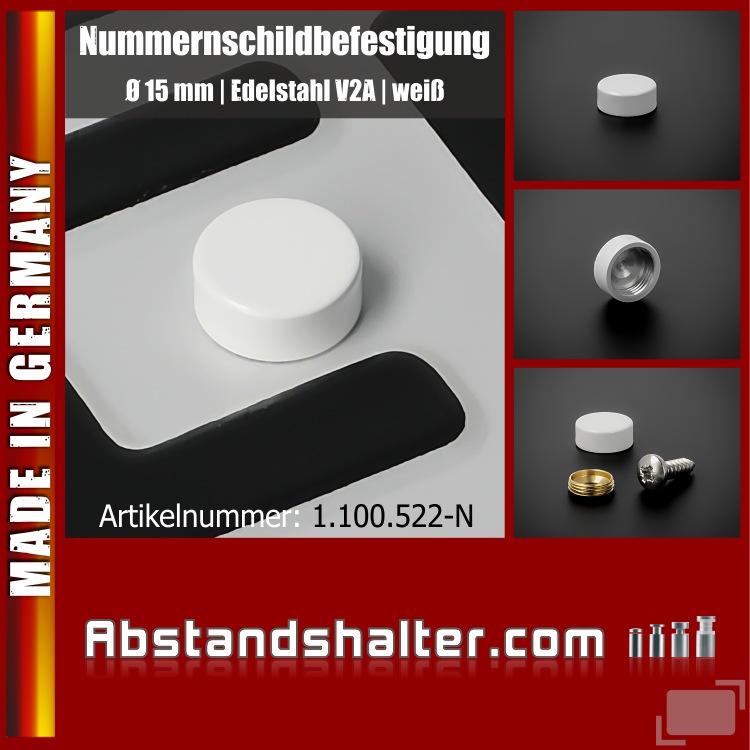 Nummernschildbefestigung Edelstahl Ø15 mm inkl. Schraube 4,8x16 | Weiß