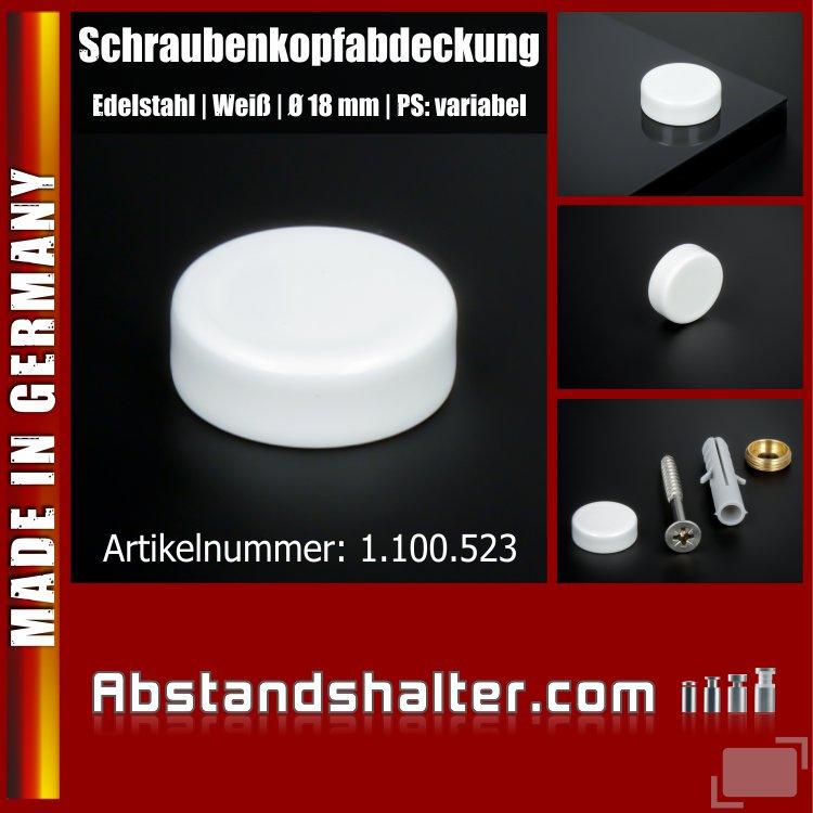 Schraubenkopfabdeckung Edelstahl inkl. Gewindehülse flach Ø18 mm | Weiß