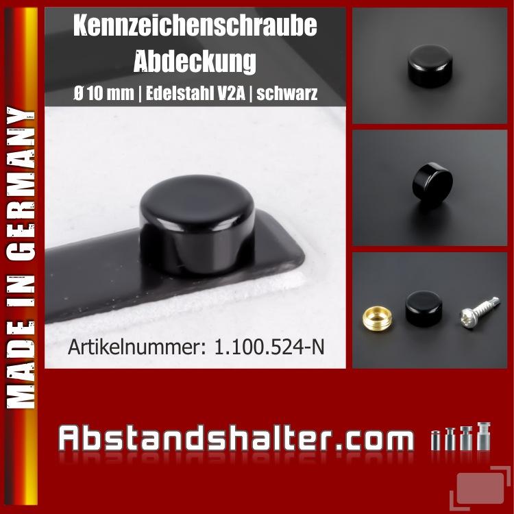 Lieferumfang: Kennzeichen-Schraube-Abdeckung Edelstahl Ø10 mm Zierkappe | Schwarz